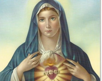 """Immaculate Heart of Mary by Simeone Art Print Picture - 8"""" x 10"""" ready to frame!"""