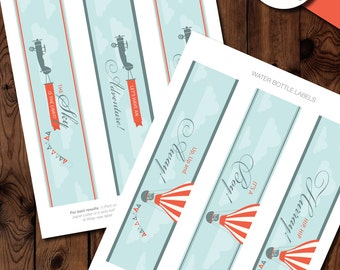 Up Up and Away Baby Shower Water Bottle Labels, Hot Air Balloon Baby Shower Water Bottle Labels, Up, Up and Away Baby Shower Printables