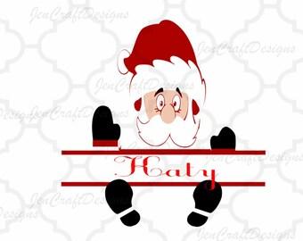 Christmas Santa Svg, Peeping Split Frame SVG,EPS Png DXF,digital download Silhouette Cricut, vector Clip Art graphics Vinyl Cutting Machines