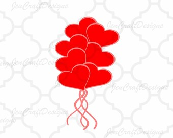 Heart Balloons SVG Cuttable SVG, Eps, Dxf and Png Cut   files for Cricut DS, Silhouette, Vinyl Cutters and Screen Printing  Instant download