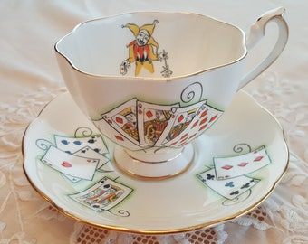 Queen Anne Lady Luck pattern teacup, royal flush,poker, Las Vegas souvenir, made in England