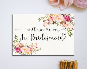 Will You Be My Junior Bridesmaid Card, Pink floral Jr. Bridesmaid Proposal Bridal Proposal, Digital Download, bridal invitations - PF-18