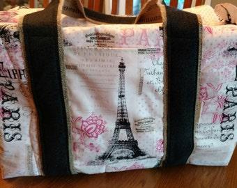Paris Tote, Travel bag, Overnight Bag, Large - Pink, Black, White Eiffel Tower fabric