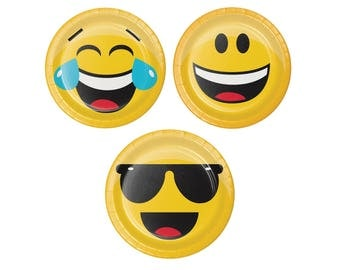Emoji Plates - Birthday Party - Party Decorations - Emoji Birthday - Kids Birthday - Wink Face - LOL - Smiley - Wink - Sunglasses - Face