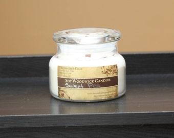 Sweet Pea scented Soy Woodwick Candle - soy candle - jar candle