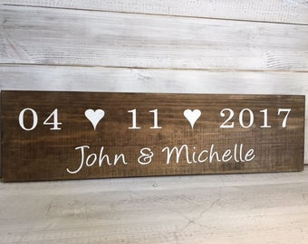 Personalised Wedding Date Sign- Bridal Shower Gift- Photo prop- Rustic Wedding