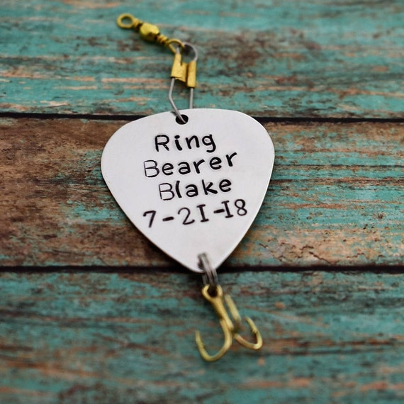 Handmade stamped fishing lure ring for Wedding ring fishing lure