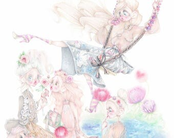 Marie Antoinette Fendi fashion illustration versailles fragonard flowers art print