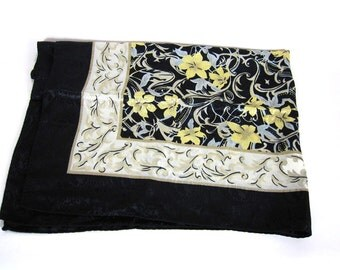 Scarf Black Floral Square Silk Polyester Women's 1970s