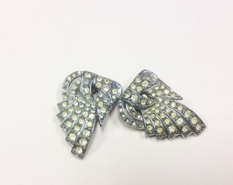 Two, matching, Art Deco, paste dress clips.