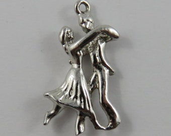 Couple Dancing Sterling Silver Vintage Charm For Bracelet