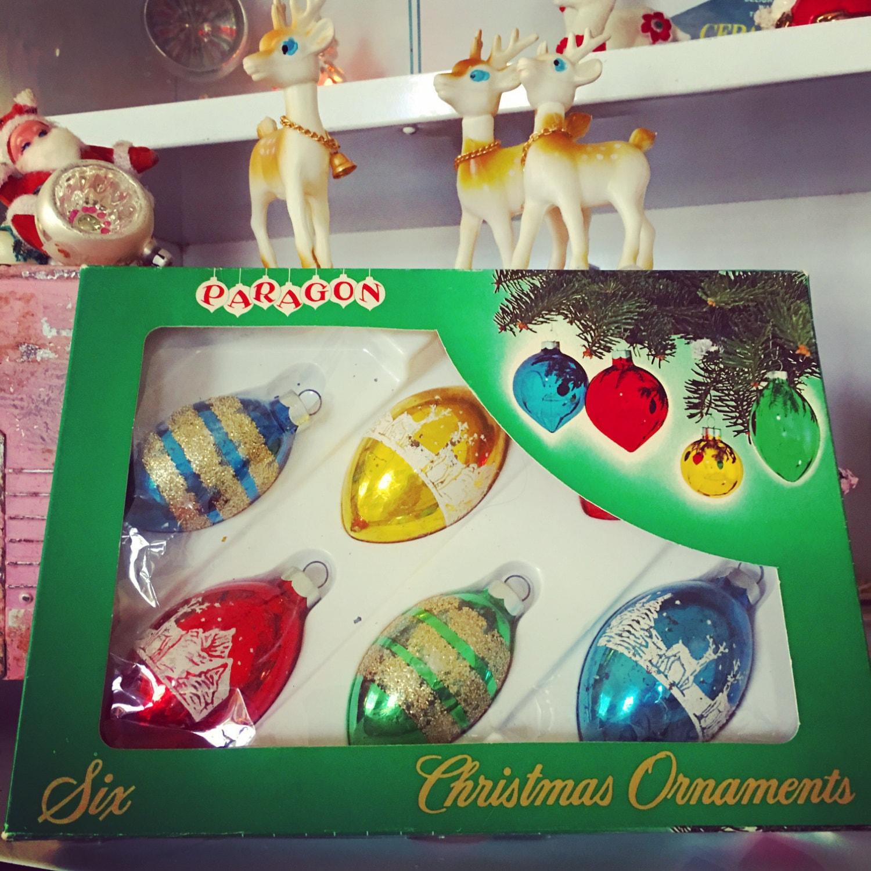 Set of six gold vintage glass christmas ornaments with glitter - Vintage Christmas Glass Ornaments Boxed Set Paragon Six