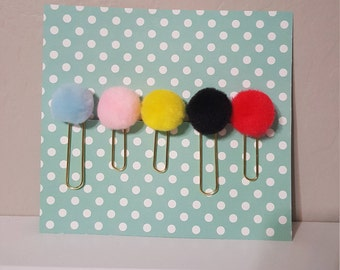 Pom Pom Paper Clip Pick your color