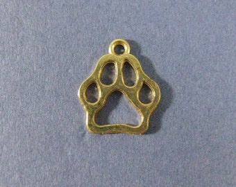 10 Paw Print Charms - Paw Print Pendants - Animal Charm - Paw Print - Gold Tone - 19mm x 16mm  --(No.83-12200)