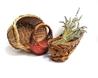 set 3 vintage wicker woven basket oval french bread basket bohemian wall hanging handmade handled rustic