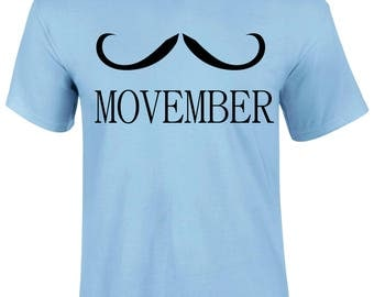Movember November month Moustache Man Day Dad Slogan Funny T-Shirt T Shirt Top Gift - Movember1-Mss
