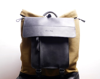 Big Travel Backpack / Leather and canvas Rucksack