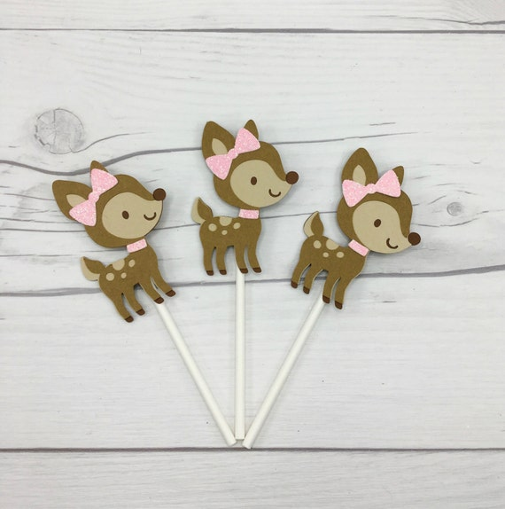 fawn cupcake toppers fawn baby shower decorations fawn birthday