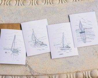 Sailboat Note Card Set | Blank Note Cards | Hand Drawn | Pen and Ink Drawing