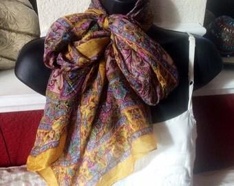 Paisley Silk Scarf,ELEPHANT Scarf,Mustard Yellow scarf, wrap,100% Silk,kashmiri Scarf,Head scarf,soft fabric,Paisley Indian wrap