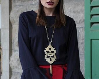 Geometric Handmade 14K Gold plated brass Pendant / Ethnic Necklace / Boho Chic Chain / Women Statement Jewelry  / Big Taditional Pendant