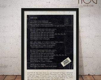 Lynyrd Skynyrd Poster - Simple Man - Free Bird - Tuesday's Gone - Lyrics Print, Music Poster, Wall Art