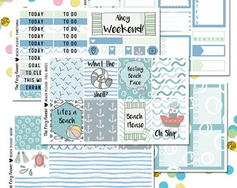 Beach Please Planner Sticker Kit, Summer Sticker Kit, Nautical Sticker Kit, Summer Beach Sticker Kit