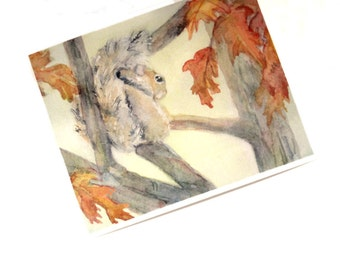 Watercolor Squirrel Print Woodland Animal Nursery Picture Eastern Grey Squirrel Artwork Painting Office Wall Art Fall Gift Watercolour 8x10
