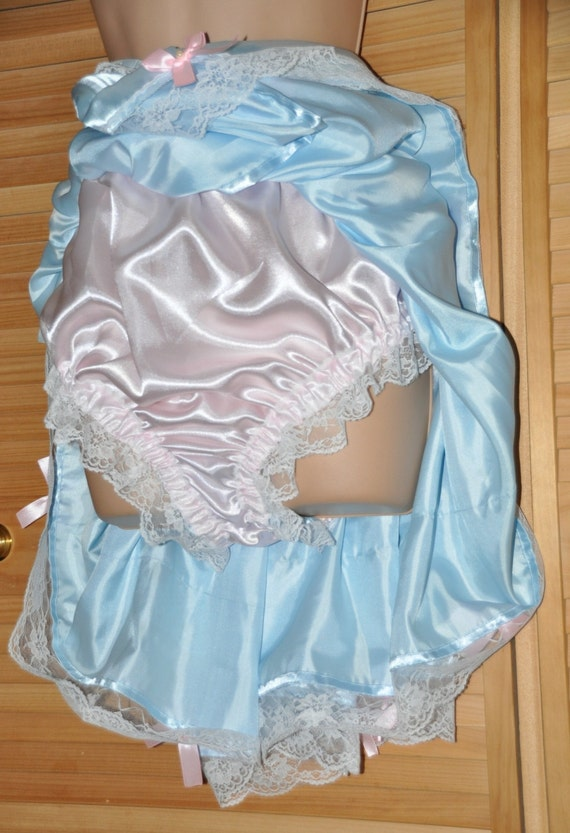 "Petticoated pantie surprise, baby blue & baby pink, in soft and silky sexy satin, waist to 42+"",Sissy Lingerie"