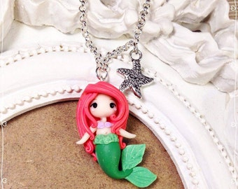 Fimo Polymer Clay necklace Chibi Cute Kawaii Ariel Disney Princess Little Mermaid Princess Mermaid Siren Charms tiny Handmade Gift Star Sea