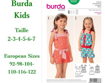 Burda, 9387, Jumpsuit, close fitting, 2-7, 2 models, 6 sizes, new, uncut, never used