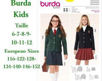 Burda, 9430, Jacket, skirt, semi-fitted, 6-11, 4 models, 7 sizes, new, uncut, never used