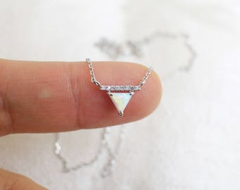 Triangle Opal Stone Silver Necklace, Silver Triangle Necklace,Bridesmaid Gift,Gemstone Necklace,Birthday Gift,7016K