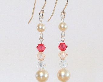 Sterling Silver Pearl Earrings, Pearl Earrings, Swarovski Crystal Earrings, Crystal Earrings, Bridal Earrings, Wedding Jewelry, Bridesmaid