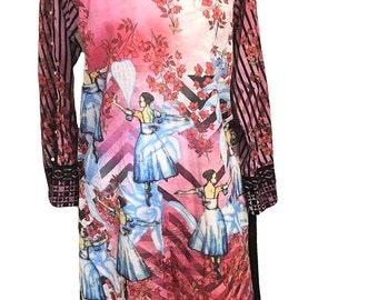 Long Tunic- Threads and Motifs Original Lawn Kurta, Digital Print, Large, Summer Cotton Tunic, Long Tunic