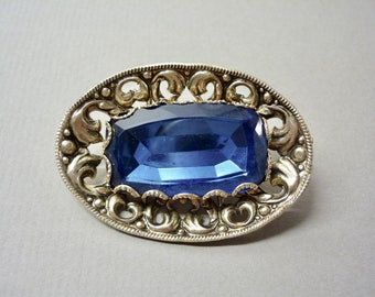 1930s Blue Glass Boss Brooch