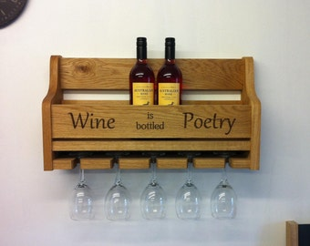 Solid Oak Wine and Bottle Rack