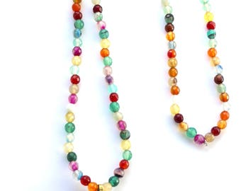 Necklace / necklace teeth - look Bohemian and ethnic gold and precious stones
