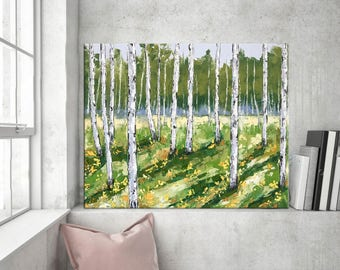 Birch Tree Painting, Landscape Palette knife Oil, Impasto Aspen, Abstract Forest Painting, Contemporary art, Modern wall art Home Decor
