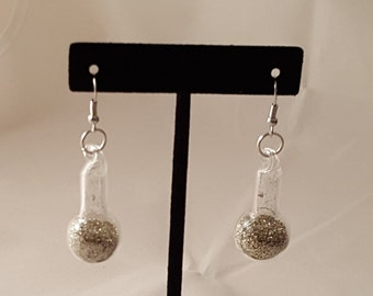 Glass & Glitter Earrings - Glass Earrings - Glitter Earrings - Glitter Ball - Glitter Ball Earrings - Glass - Silver Glitter - Gold Glitter