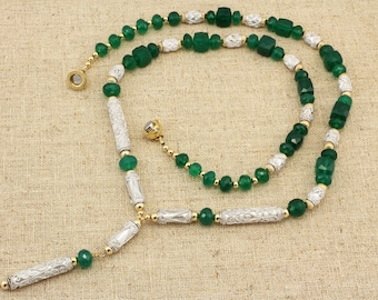 BN139- Exquisite Green Onyx & Silver filigree necklace + earrings set