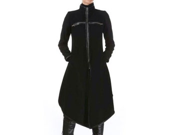Cashmere Coat, Long Wool Coat, Black Coat, Plus Size Coat, Asymmetric Coat, Zip Up Jacket Coat, Elegant Black Coat, Designer Coat