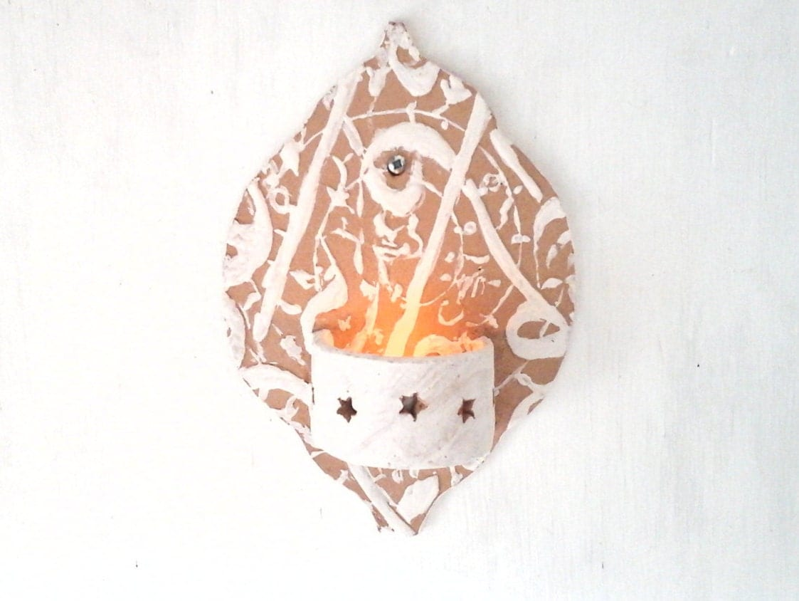 Moroccan Ceramic Wall Lights : Moroccan style ceramic wall sconce small tea light holder for