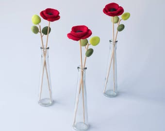 Felt Poppy Floral Arrangement - Wool felt poppy flower and leaf arrangment in vase, Handmade wet felted artificial flower bouquet.