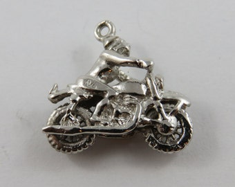 Motorcycle and Rider Sterling Silver Charm of Pendant.