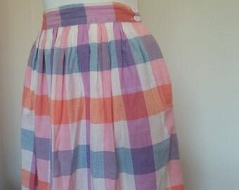 Vintage Women's Pastel Plaid, A Line Skirt Size 12