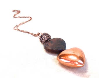 Heart Necklace, agate heart necklace copper heart necklace long pendant necklace bali jewelry copper rustic jewelry dragon vein agate heart