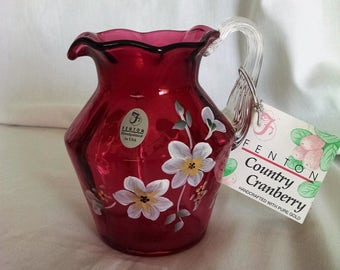 Fenton Art Glass Country Cranberry Hand Painted and Signed Pitcher