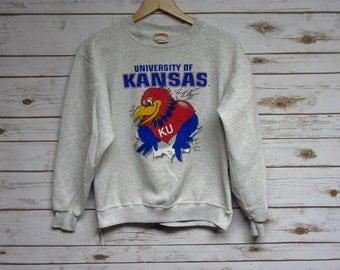 Vintage University of Kansas Jayhawks crew neck sweatshirt heather grey Kansas Basketball football crewneck Nutmeg Mills - Small/XS