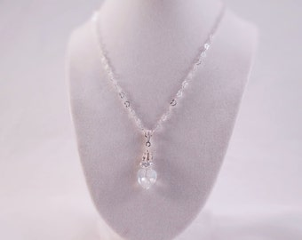 Crystal heart necklace, Crystal & rhinestone heart necklace, Valentine crystal necklace, Romantic crystal heart, Elegant crystal pendant